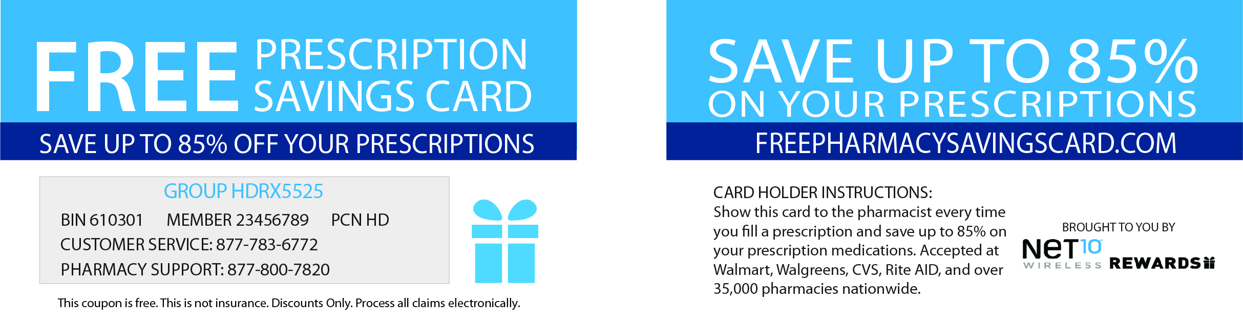 Net 10 Rewards > Prescription Savings Card